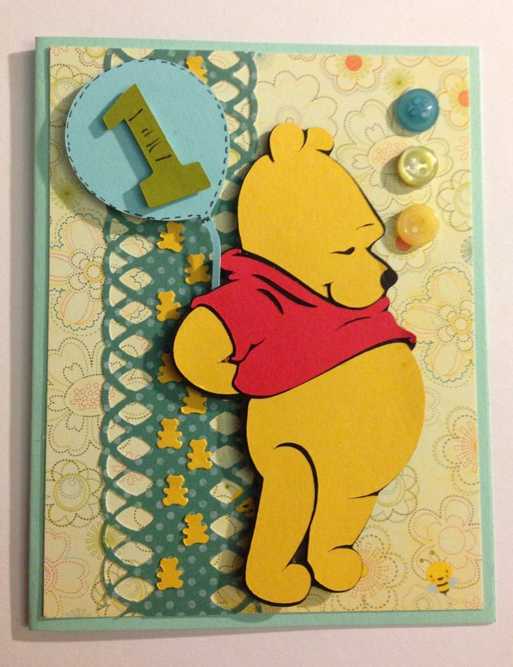 Cricut Pooh And Friends Cards 1st Birthday Card Of Winnie The Pooh