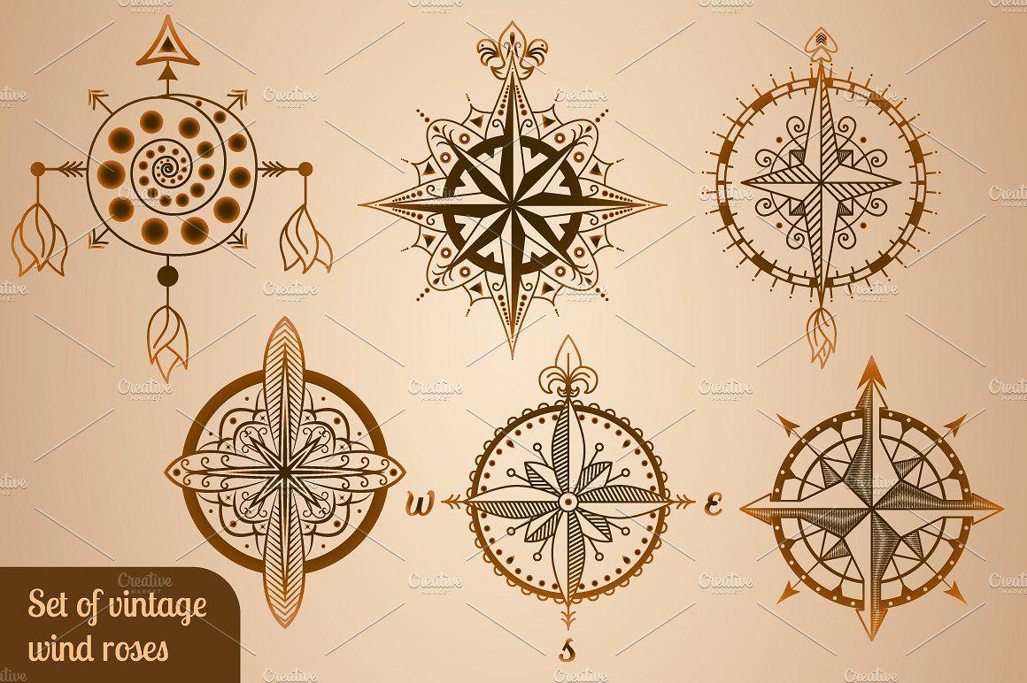 Set Of Vintage Wind Roses Compasses