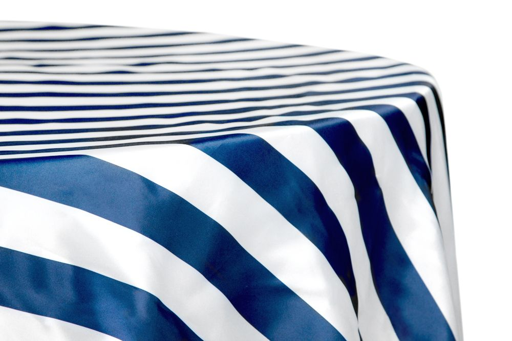 Stripe 120 Satin Round Tablecloth Navy Blue White Blue And
