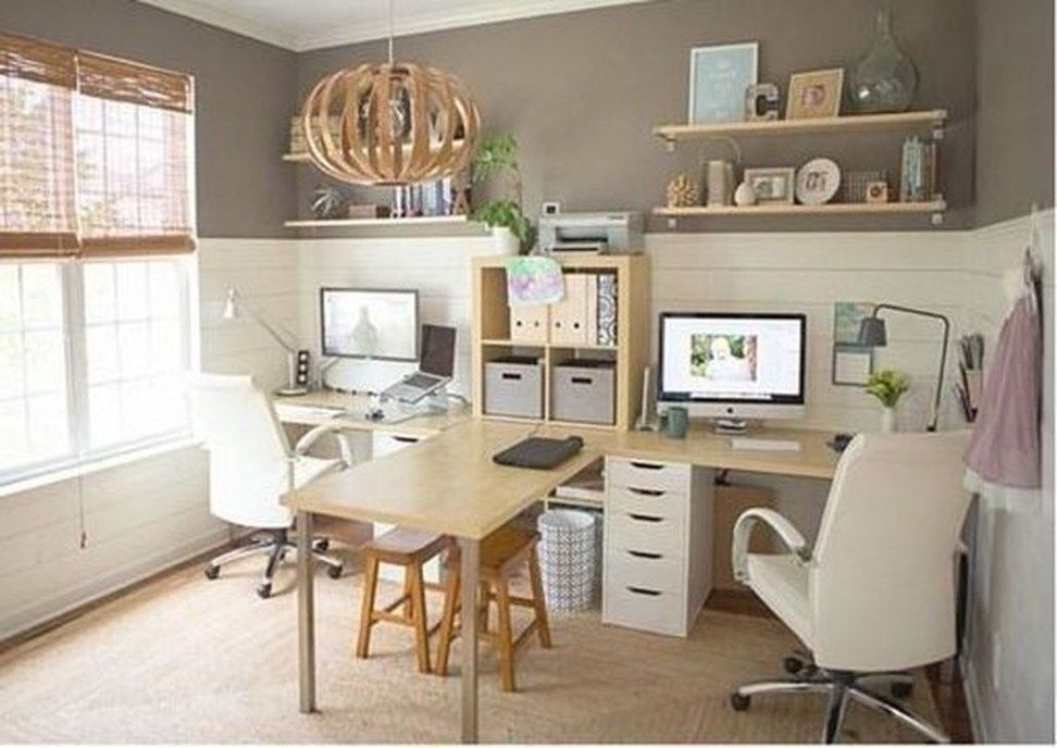 Beautiful Small Work Office Decorating Ideas 02 Home Space Design Decor