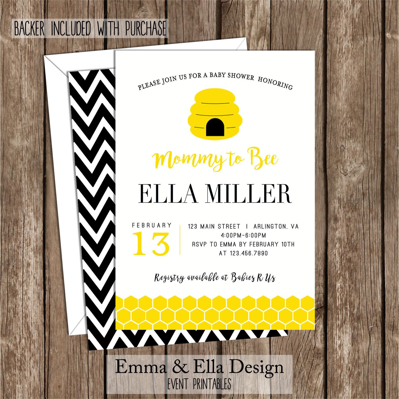 Bee Baby Shower, Invitation, Bumble Bee Invite, Printable Digital ...