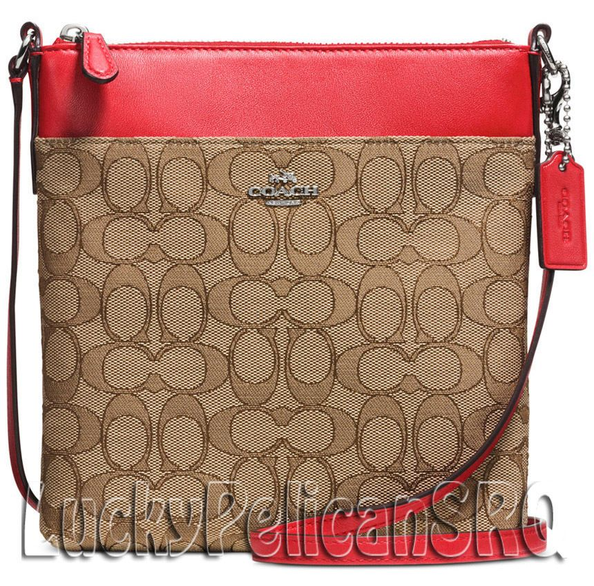 Coach 52576 N S Swingpack Messenger Crossbody Bag Signature Silver Red Nwt Messengercrossbody