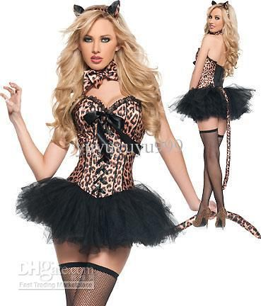 3235370727 Wholesale Sexy Costumes - Buy Sexy Adult Halloween Costume Black Bow Cat Woman  Leopard with Cup Body Palace Dress S/M/L/XL/XXL Cosplay, $50.0 | DHgate