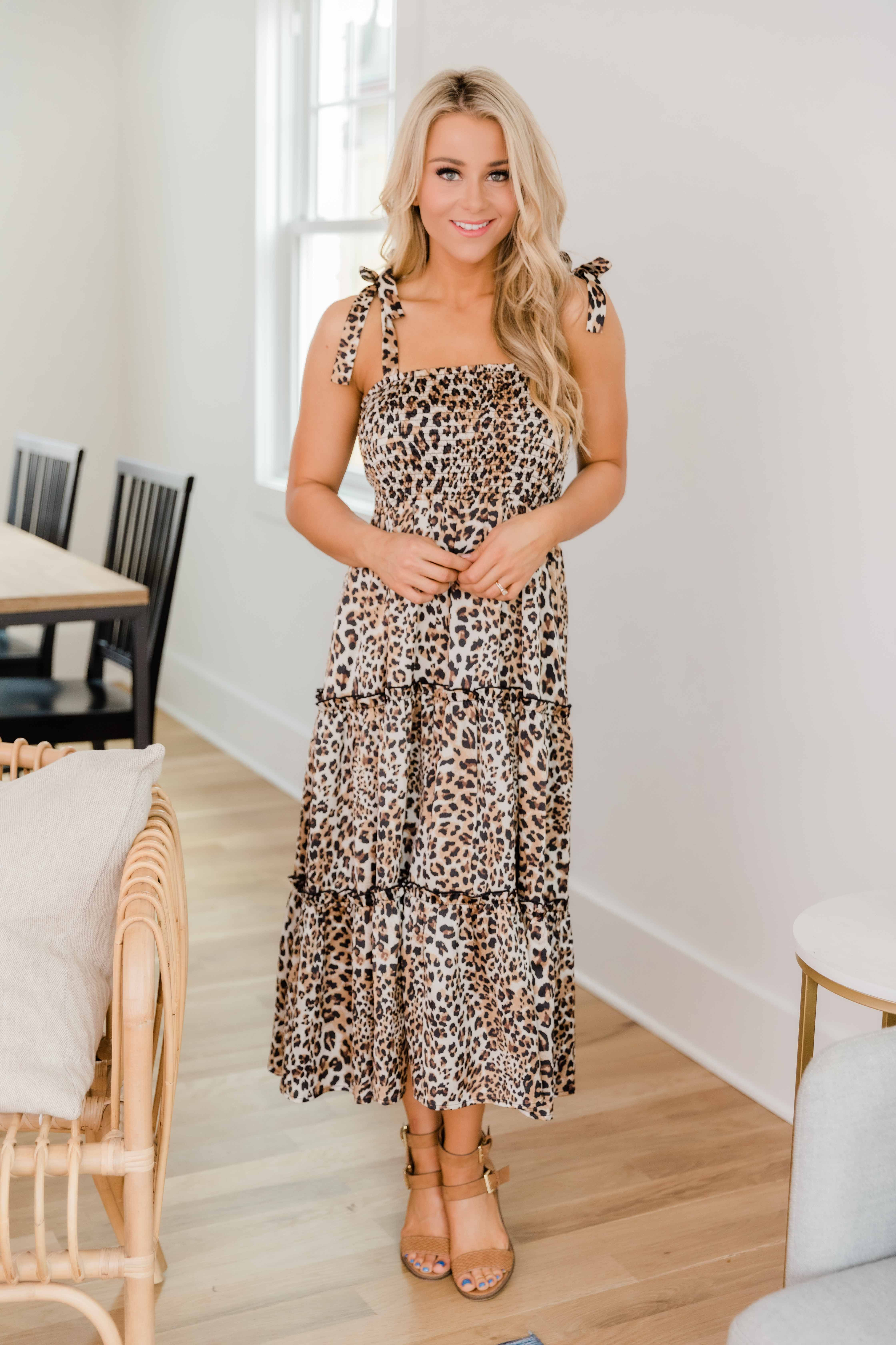 For Your Heart Only Brown Animal Print Midi Dress