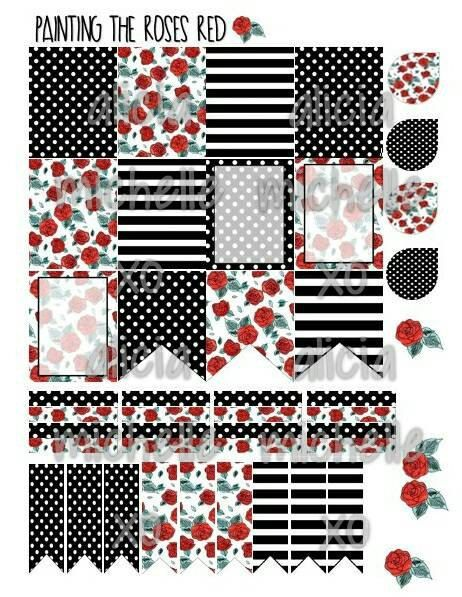 Erin condren floral with black white themed planner stickers instant download printable