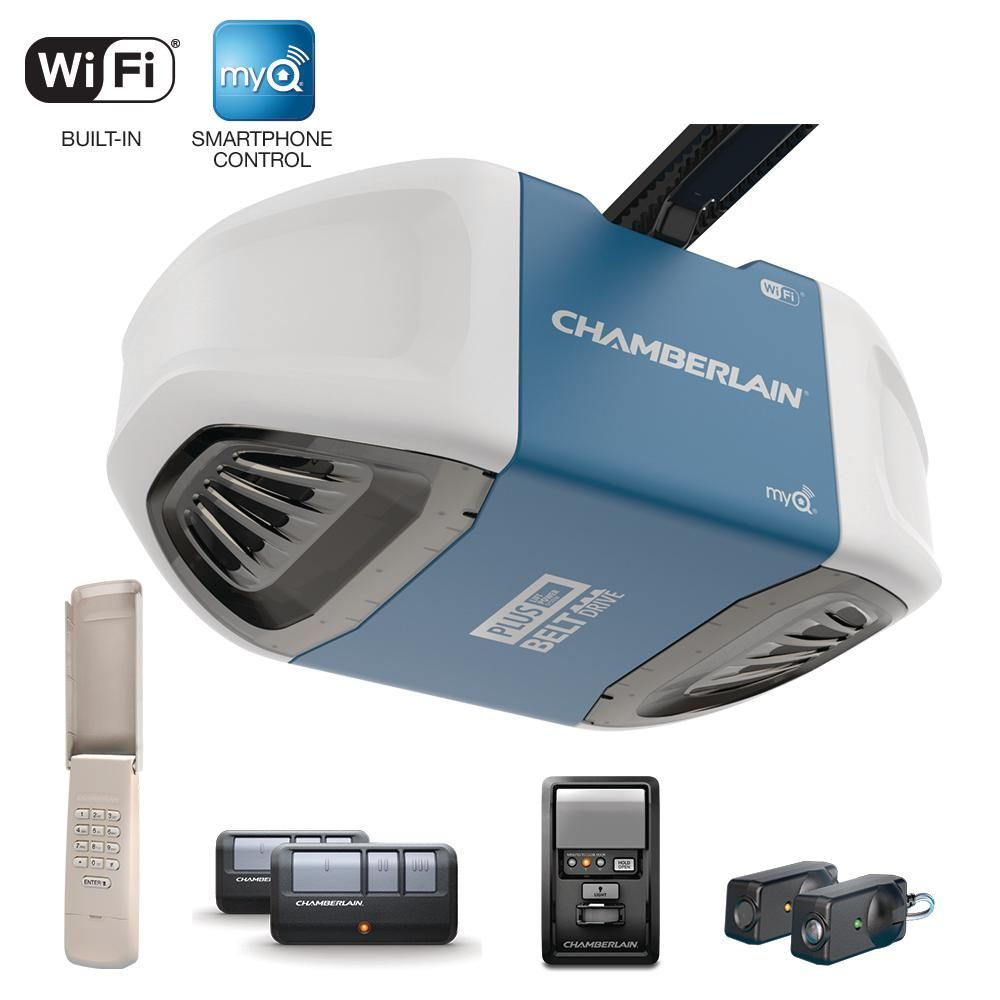 Chamberlain 3 4 Hp Equivalent Ultra Quiet Belt Drive Smart Garage Door Opener B750 The Home Depot In 2020 Chamberlain Garage Door Opener Chamberlain Garage Door Smart Garage Door Opener