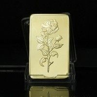 Fine Gold Rectangle Bar 1 Oz 9999 Plated Eagles Block United Arab Emirates National Emblem Rose Pattern Collection Gifts Wish Rose Pattern Gold Gold Style