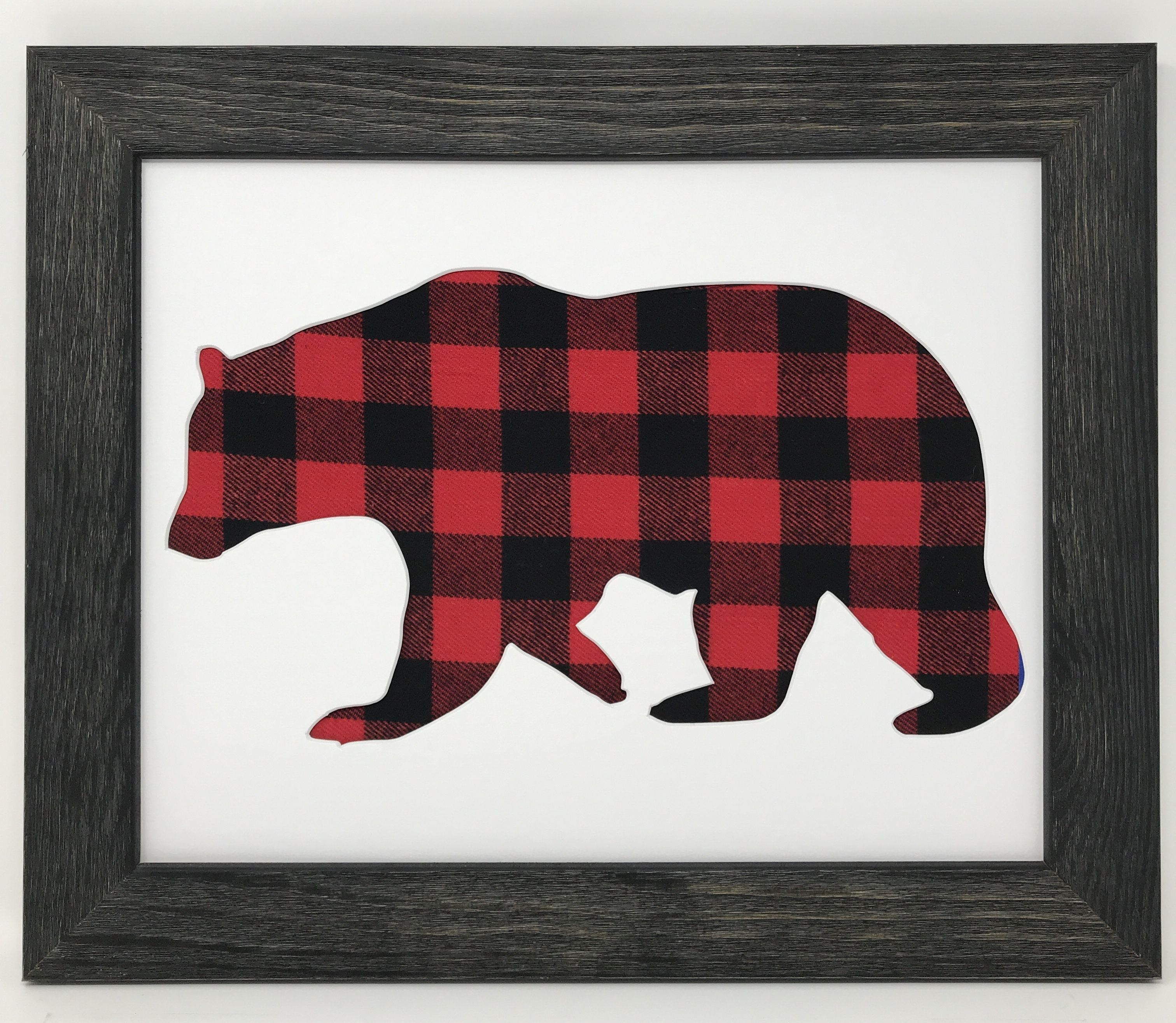Rustic Black Solid Wood Frame with Bear in Buffalo Plaid   Solid ...