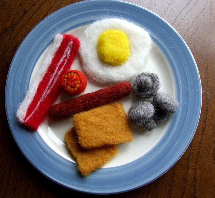 Needlefelted breakfast set