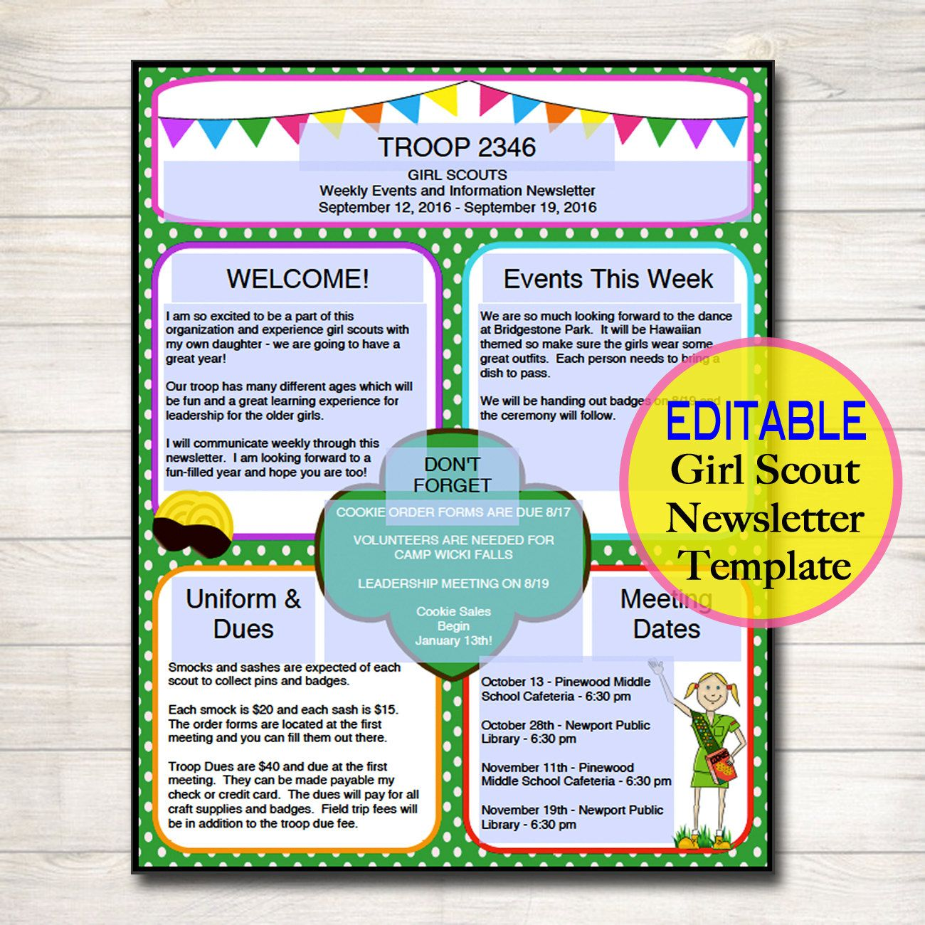 editable newsletter template instant download teacher newsletter