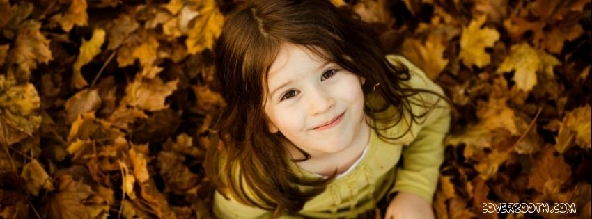 Cute Girl Smiling Yellow Maple Leaves Beautiful Facebook Timeline Profile Cover Stunning Looking Above