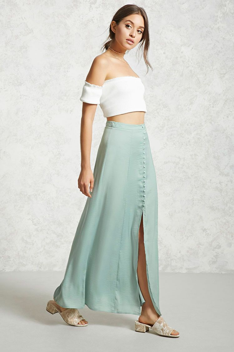 2f0b4ccfb5 Forever 21 Contemporary - A satin maxi skirt featuring a button-down front,  center-front slit, and an interior lining.