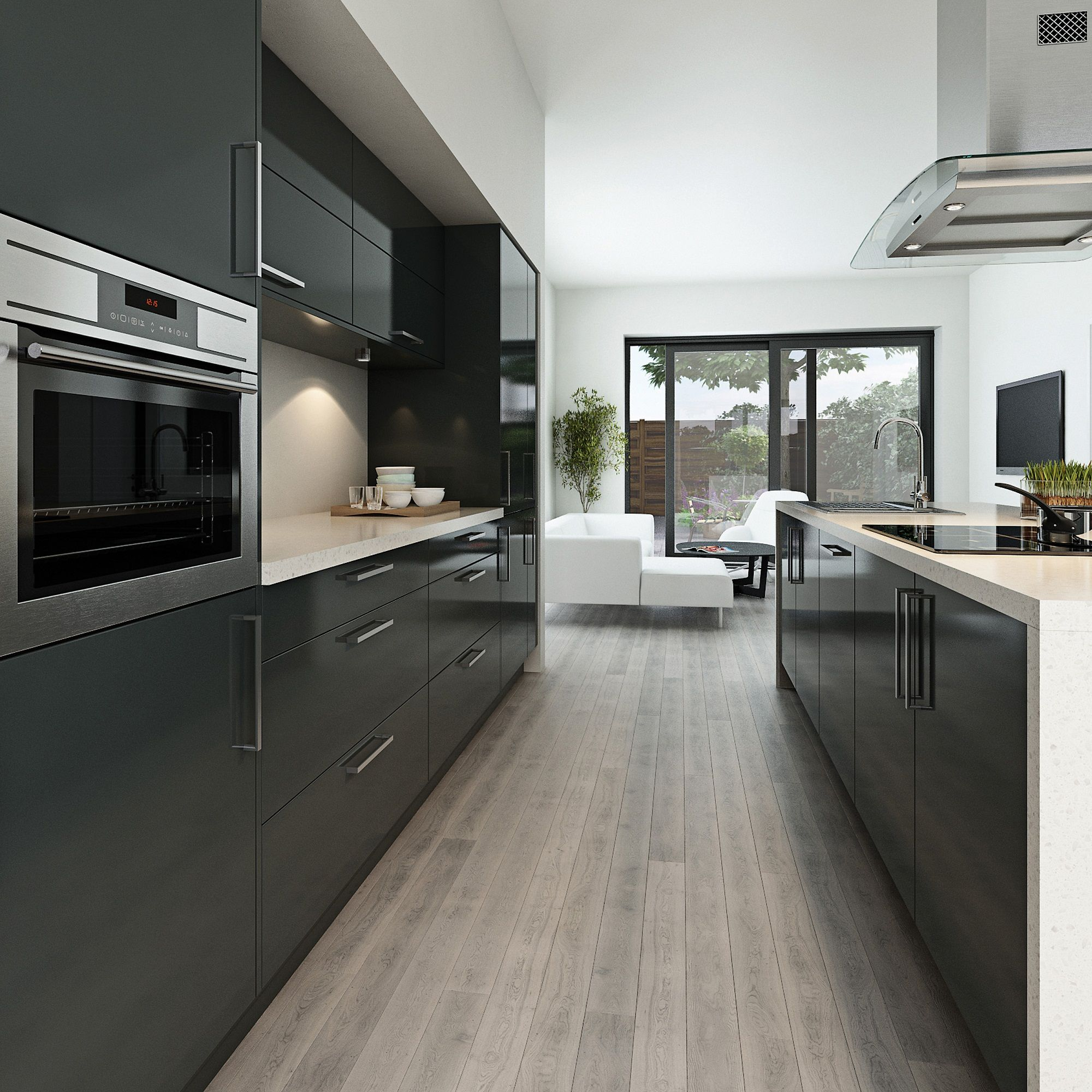 Maida Gloss Dark Grey Can Create A Modern Look For Any Kitchen Http Www Moores Co Uk Defi Modern Grey Kitchen Kitchen Inspiration Design Grey Kitchen Designs