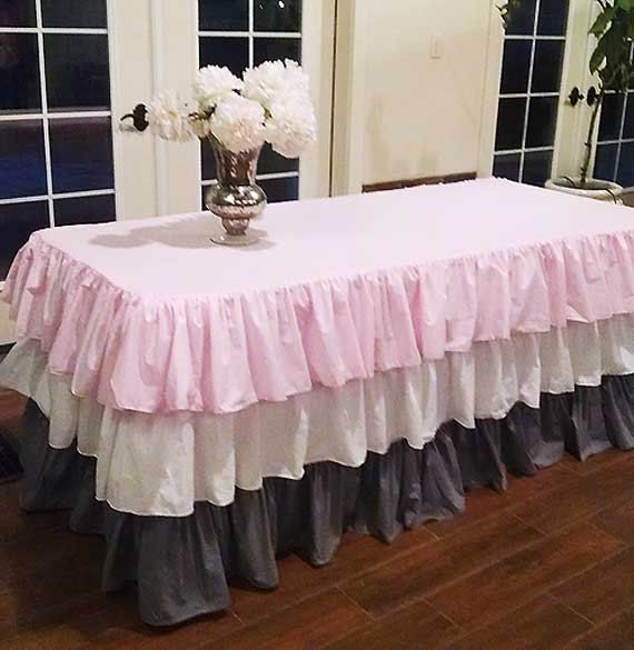 Pink White Grey Ruffled Tablecloth Easter By MyHauteStuff On Etsy