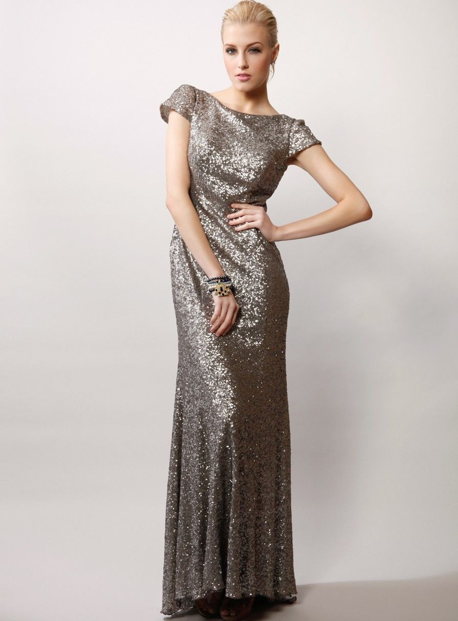 Sequinned cap sleeve dress with train the bridal gowning