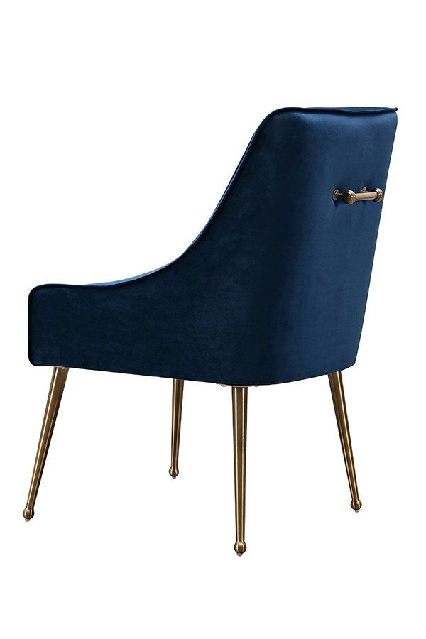 Mason Dining Chair Navy Blue Brushed Gold Legs Home Blue