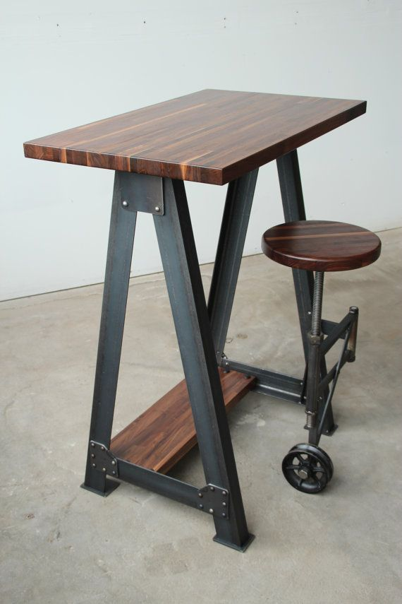 Walnut Stand Up Sit Down Check out table / Work Station Desk and