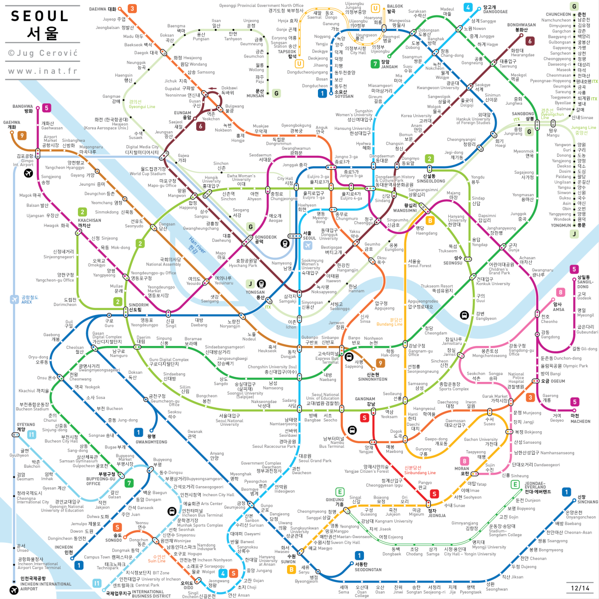 Upgraded Seoul subway map has been released The new Seoul subway