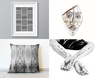 Modern Art In Black And White  by Elinor Levin on Etsy--Pinned with TreasuryPin.com