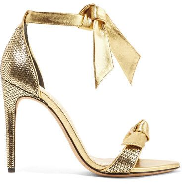 Clarita Bow-embellished Metallic Leather Sandals - Gold Alexandre Birman