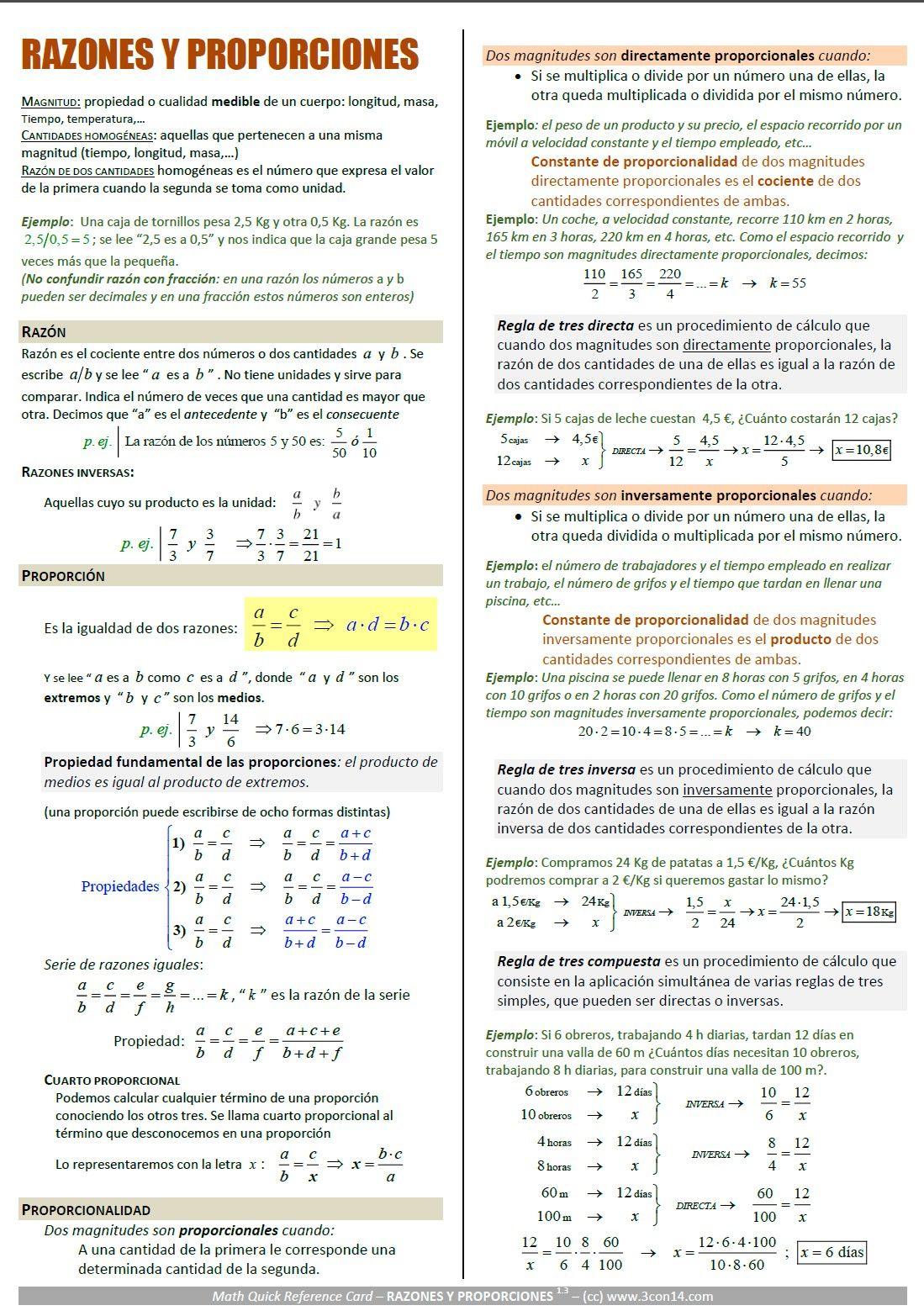 Proporcionalidad Razones Y Proporciones Con Imagenes