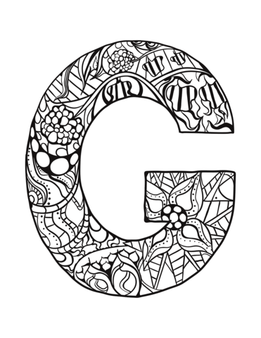 Letter G Zentangle Coloring Page From Zentangle Alphabet Category Select From 30586 Printable Cr Coloring Letters Coloring Pages Free Printable Coloring Pages