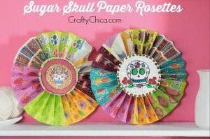 Sugar Skull Paper Rosettes-  100 Dia de Los Muertos Projects, Patterns & Inspirations! | CraftyChica.com