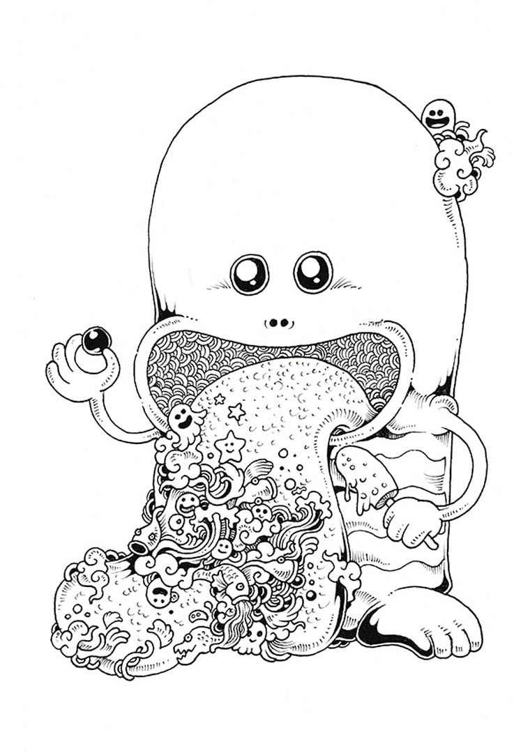 Doodle Invasion A Cute And Complex Coloring Book For Grown Ups