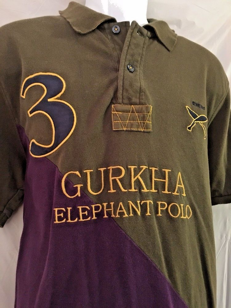 912e4954 JOULES Polo Shirt Sz LARGE Green Purple GURKHA ELEPHANT Team Design Europe  Men C #Joules #ShirtsTops