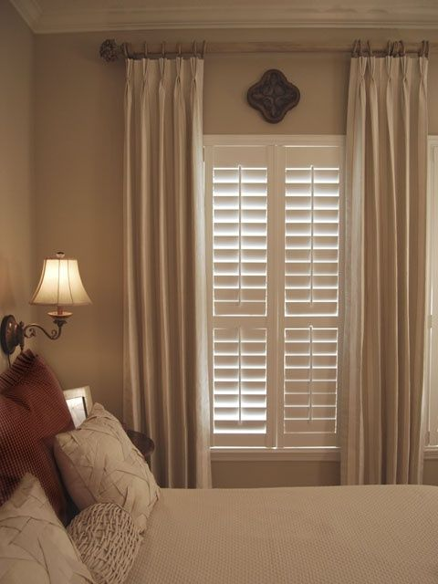 Combining plantation shutters with curtains privacy for Decor blinds and shades