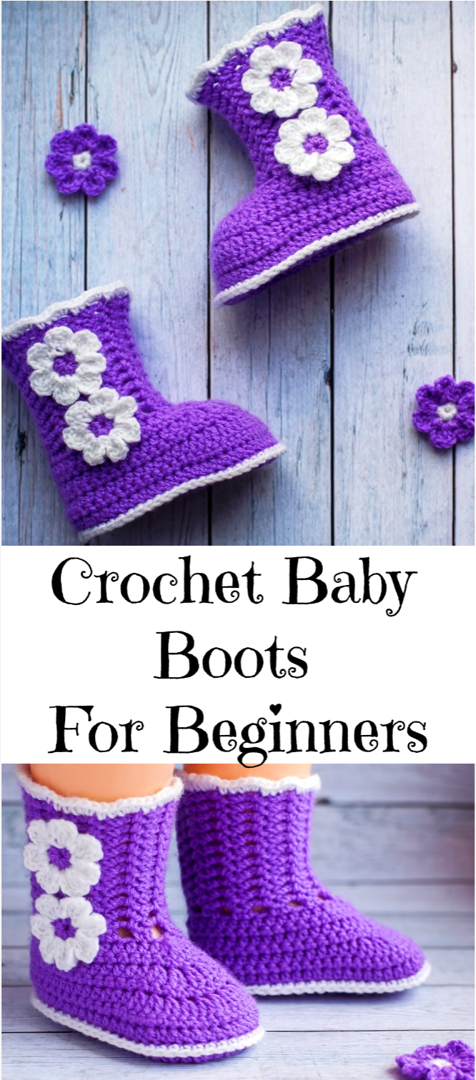 Crochet Baby Boots For Beginners #crochetbabyboots