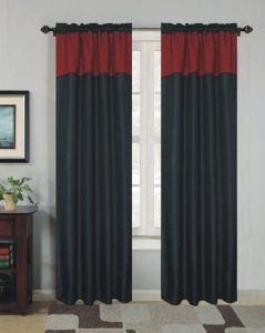 Black and red curtains harley quinn inspired room for Harley quinn bedroom ideas