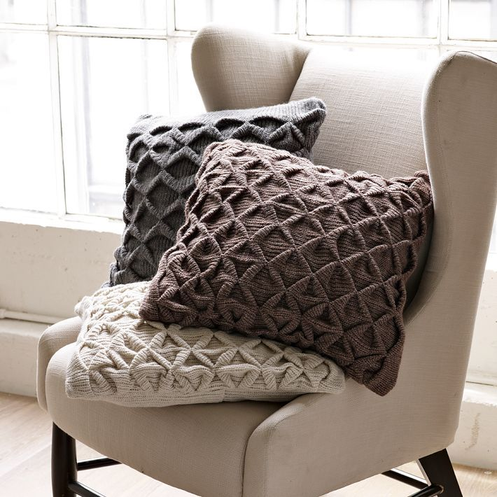 SCULPTED ORIGAMI PILLOW COVER Origami for the sofa chair or bed. This cozy sweater-knit pillow cover is cleverly pintucked to create rich textural ... & just wish I had a pattern... | For the Home | Pinterest | Sweater ... pillowsntoast.com