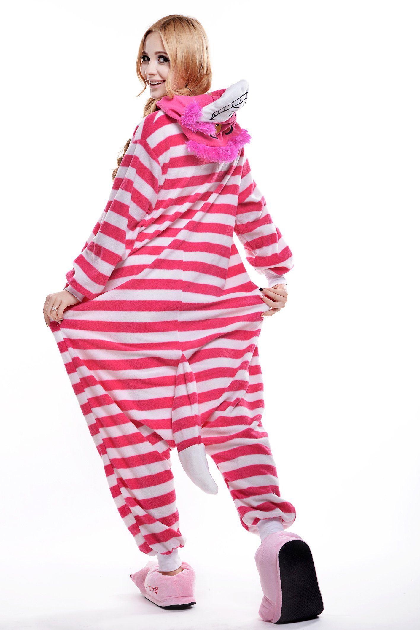 a02a5d23a Amazon.com: Newcosplay Unisex Cheshire Cat Pyjamas Kigurumi Onesie Costume:  Clothing