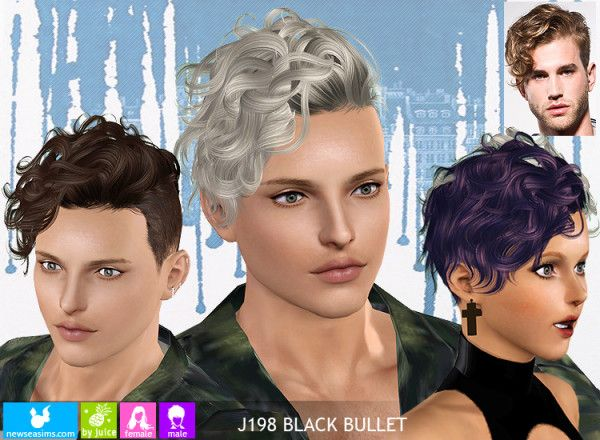 J198 Black Bullet Curly Side Hairstyle By Newsea For Sims 3 Sims Hair Sims 4 Hair Male Sims 4 Curly Hair