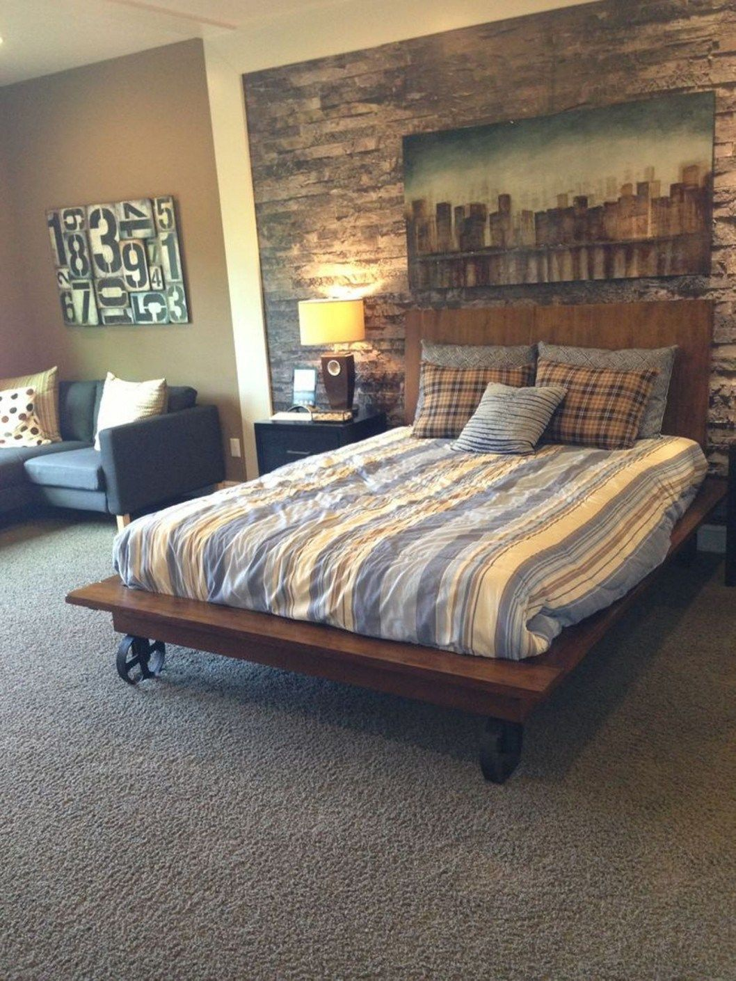 Bedroom small bedroom ideas men gray carpet rustic wall - Mens bedroom wall art ...