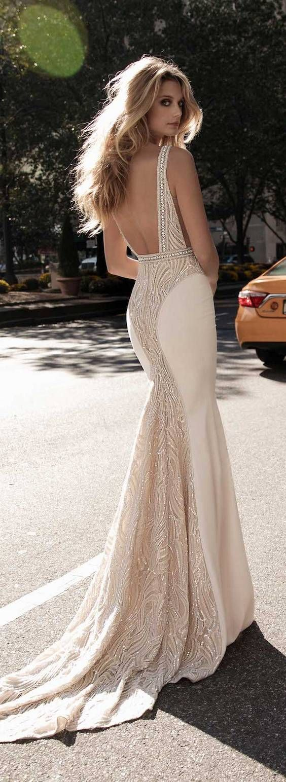 Long wedding reception dresses for the bride  BERTA Fall u Winter  Wedding Dresses  Fall wedding dresses