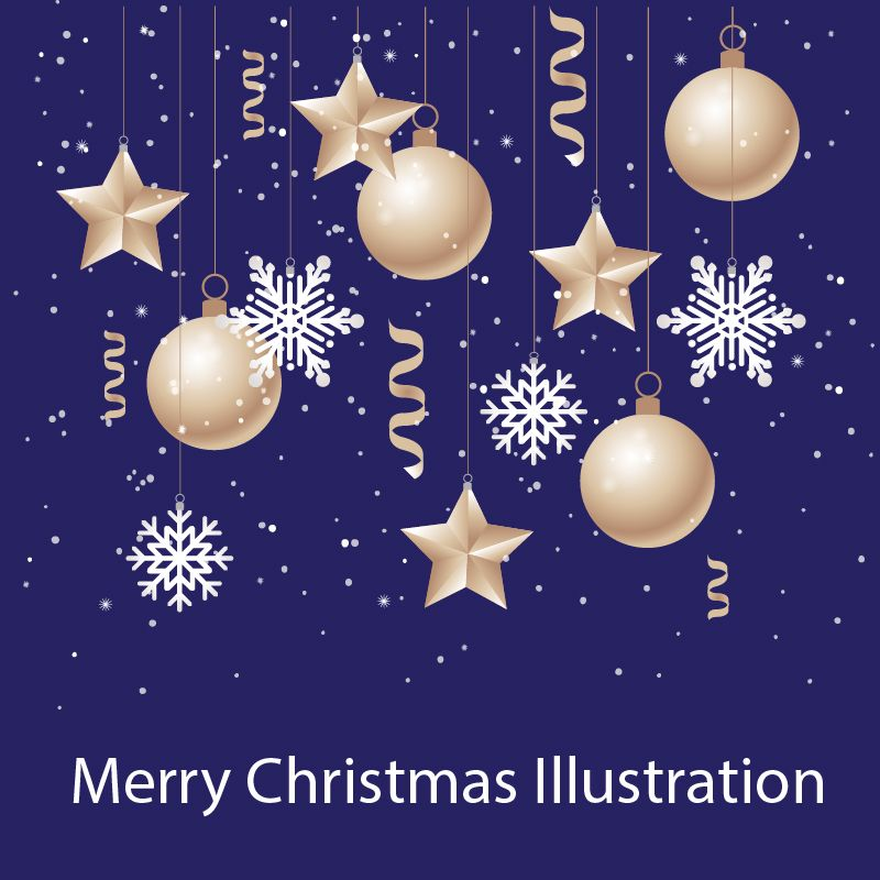 Free Merry Christmas And New Year Illustration Design Vector New