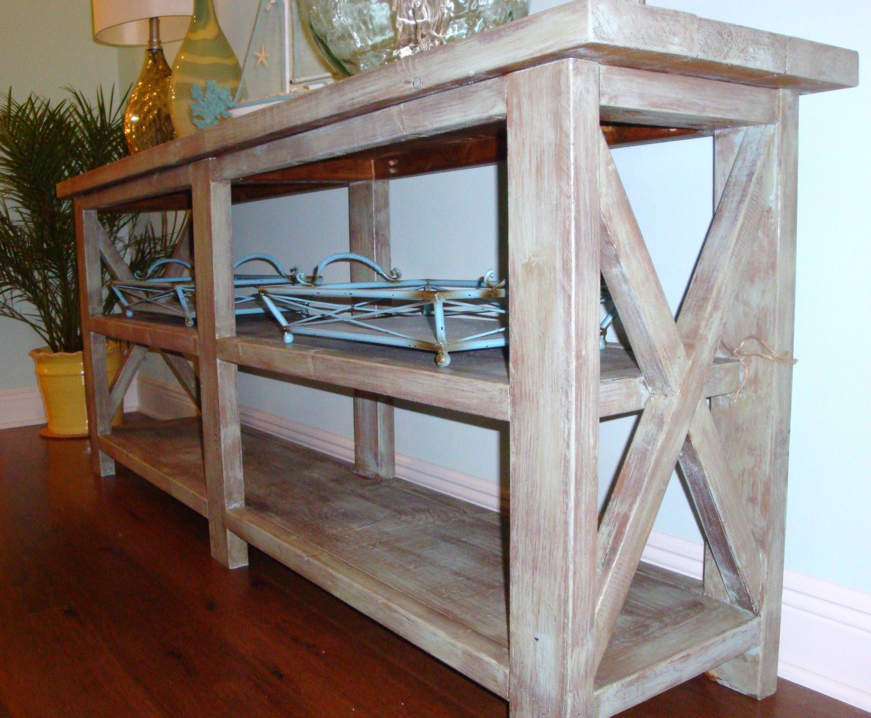 Custom DIY Narrow Modern Rustic Wood Console Table With Storage .