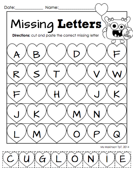 February Printables  Kindergarten Literacy and Math  Literacy
