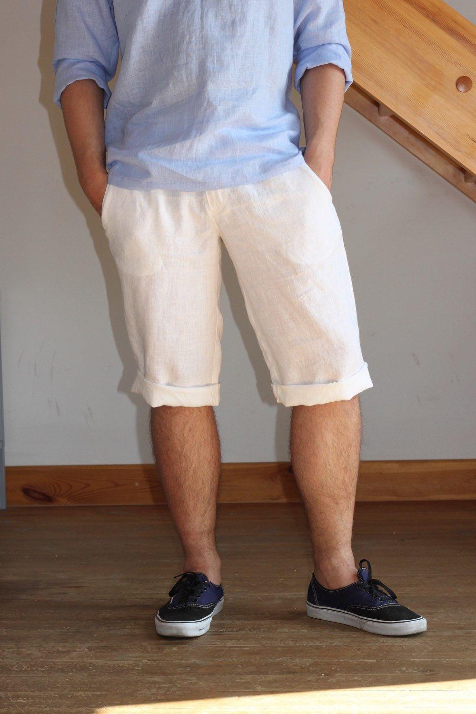 Man white knee length shorts linen beach wedding party special ...