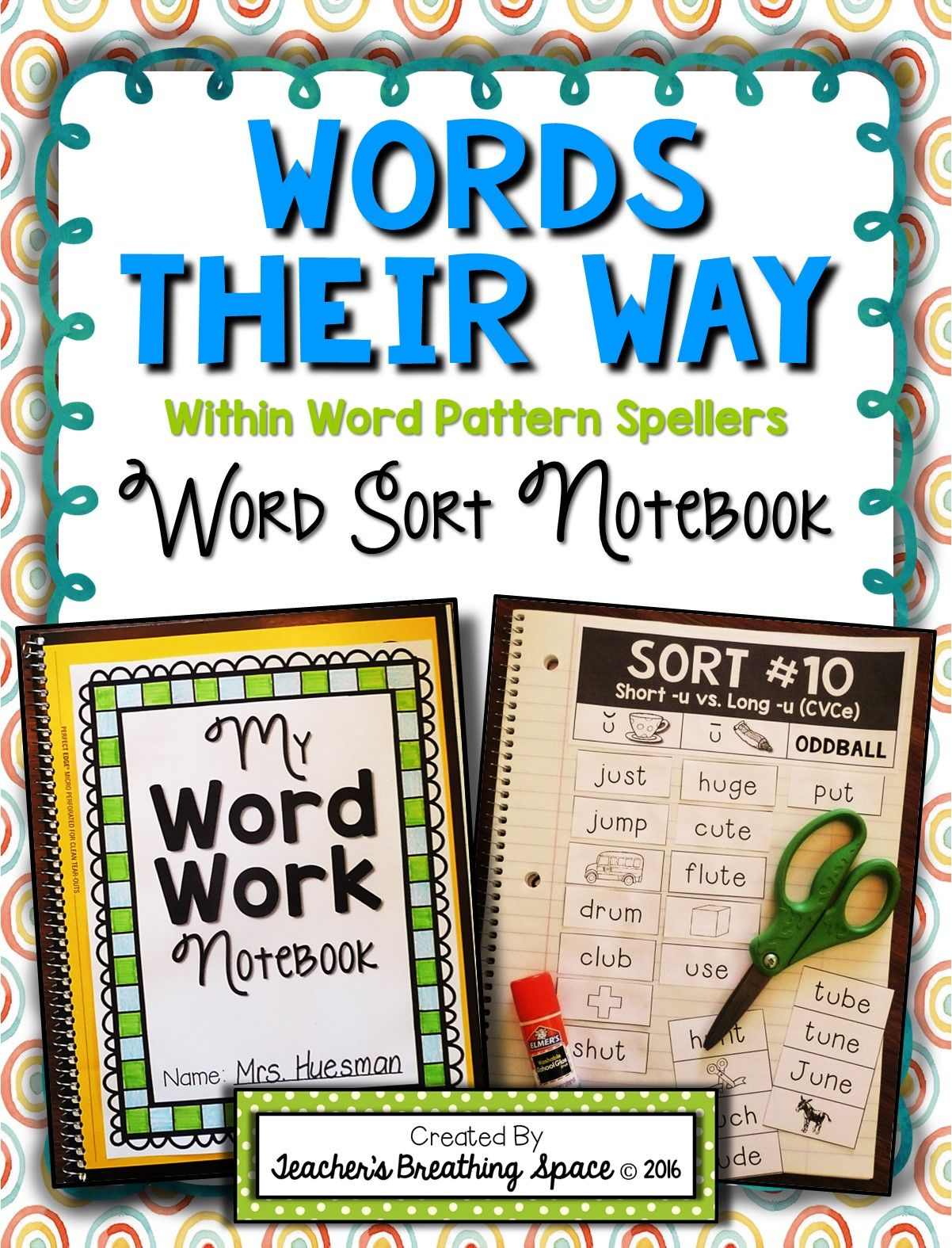 Word Sorting Notebook Perfect For Within Word Pattern Spellers Word Sorts Word Study Activities First Grade Words