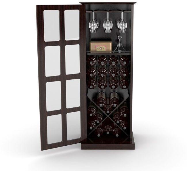 Wine Cabinet Cabinet Storage Espresso Steel Frame Wood 24 Bottle
