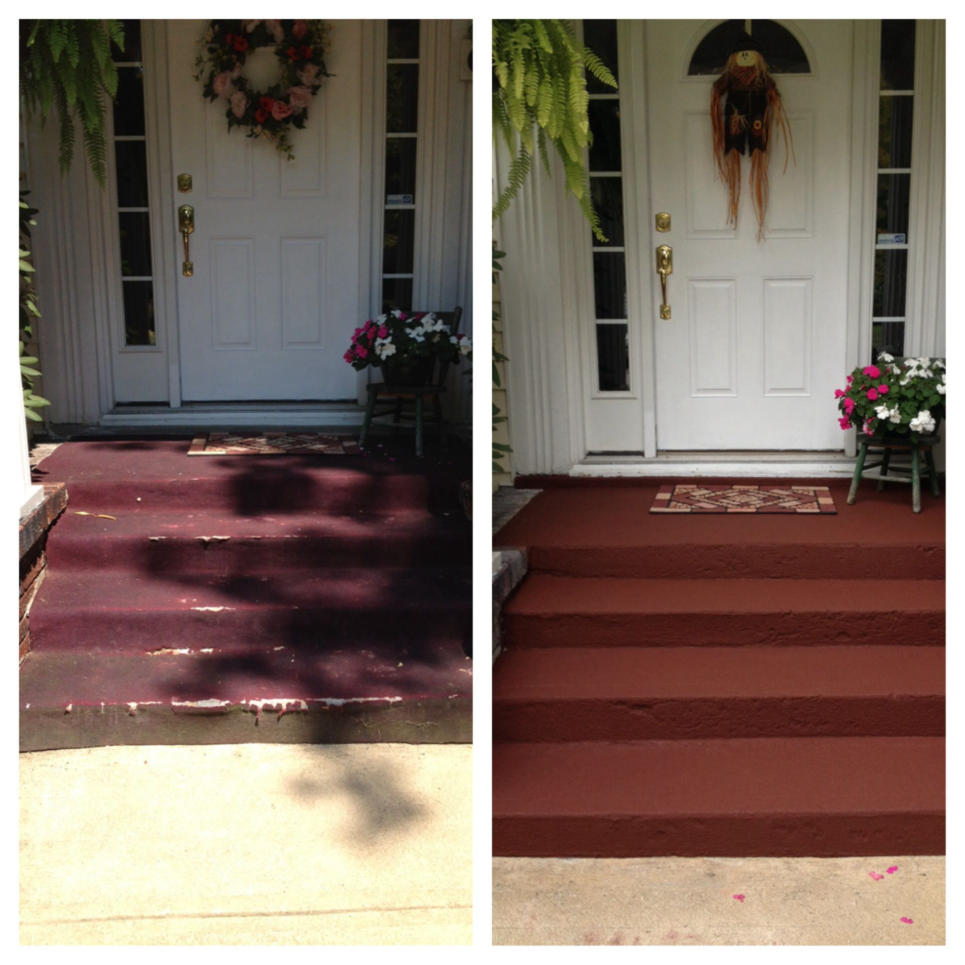 Front steps old crappy carpet to restore paint house and home