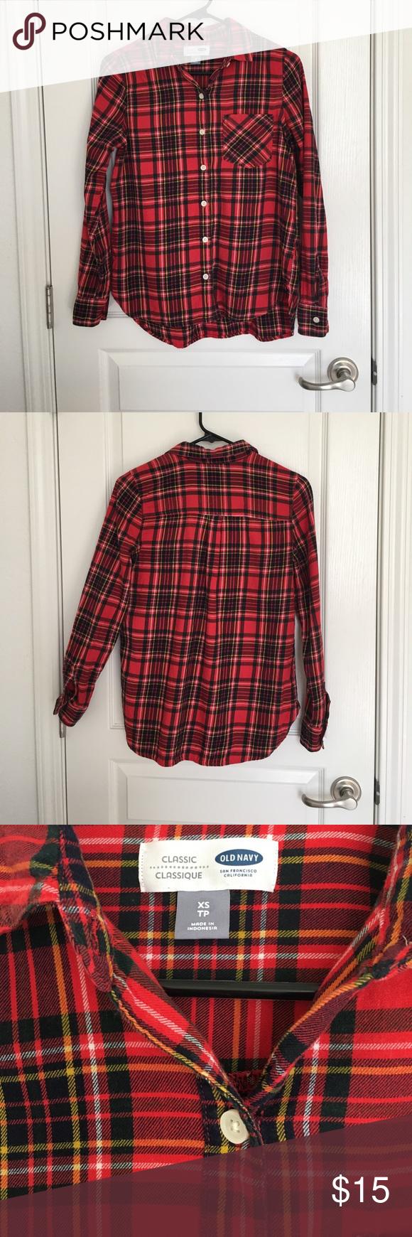 Flannel shirt xs  Old Navy Classic Flannel Plaid Shirt Sz XS  Plaid flannel Navy