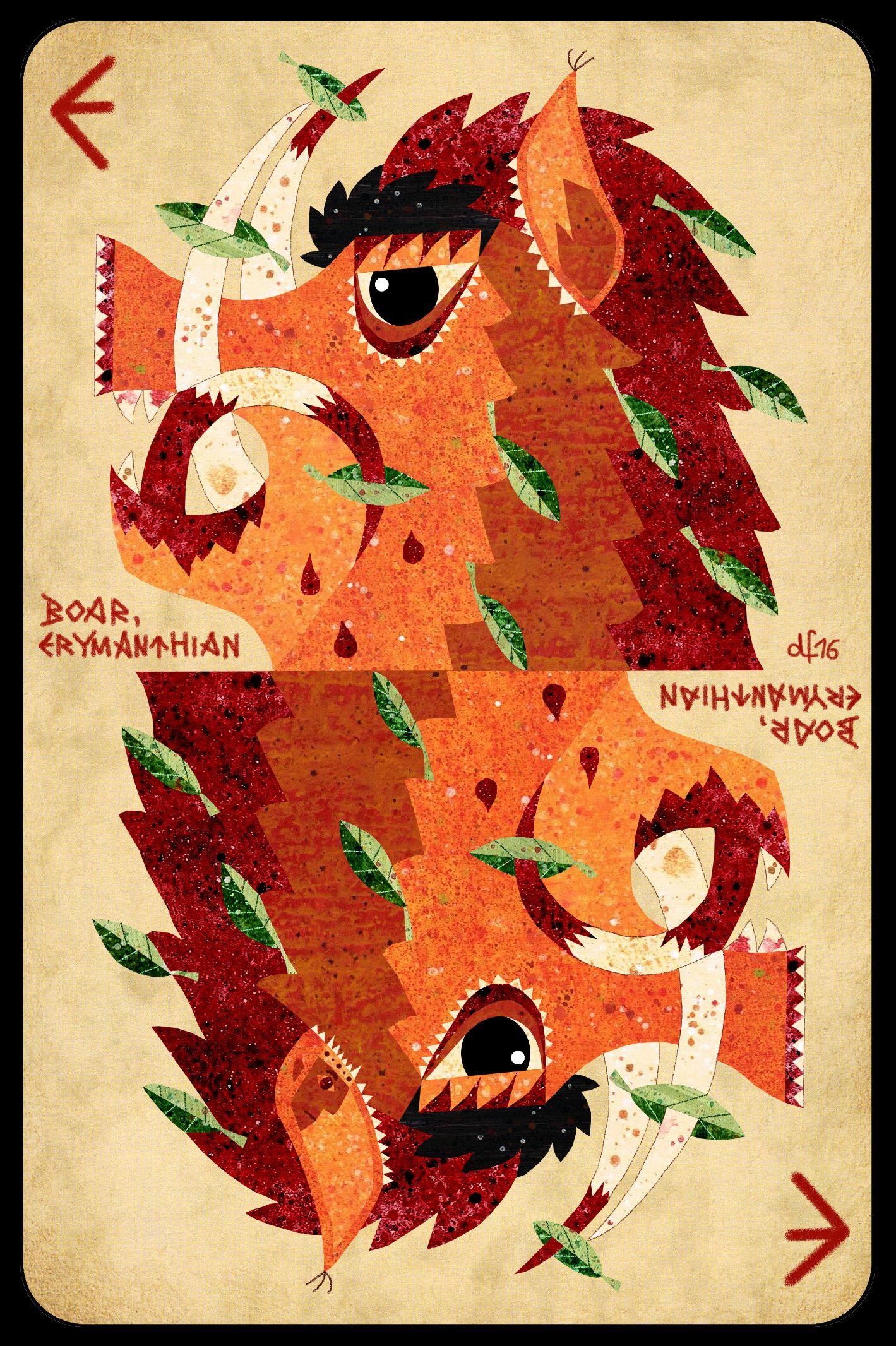 E is for Erymanthian Boar +++ Who was his last yummy victim? +++ illustration by Daniela Faber 2016 +++ quiz puzzle mythology mythical beast creature animal pig wild Hercules Herakles greek