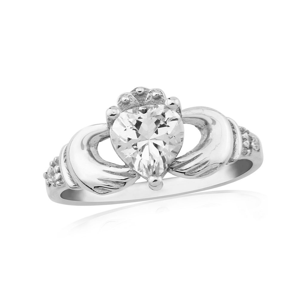 Waterford Crystal Jewellery Rings Waterford Sterling Silver Stone Set Claddagh  Ring  Fallers Jewelers