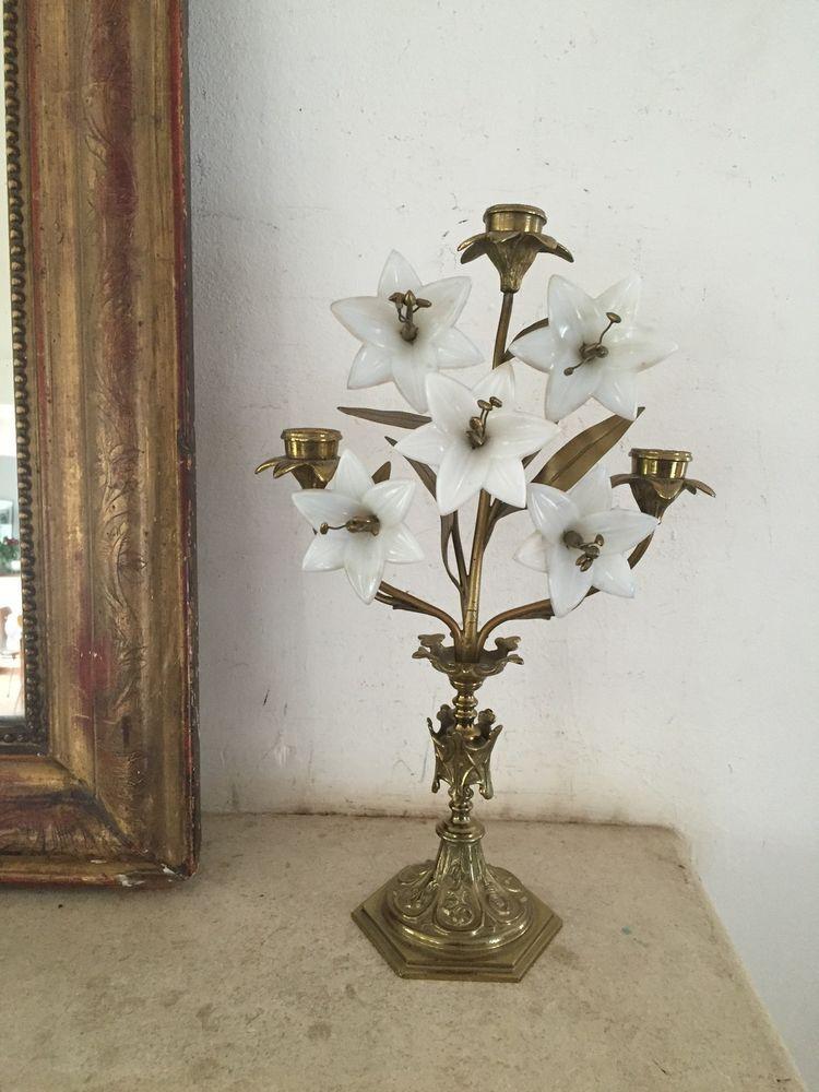 Kirchenleuchter, Altarleuchter, 5 Opalinblüten, alt, Frankreich ...
