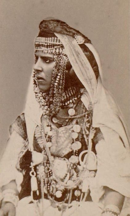 Africa | Portrait of an Ouled Nail woman. Annaba, Algeria. ca. 1870s | Photo taken by Prod'hom et fils