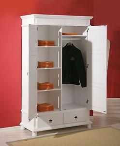Details Sur Armoire Penderie Dressing Rangement Chambre Vintage 2 Portes Bois Massif Blanc Rangement Chambre Armoire Penderie Mobilier De Salon